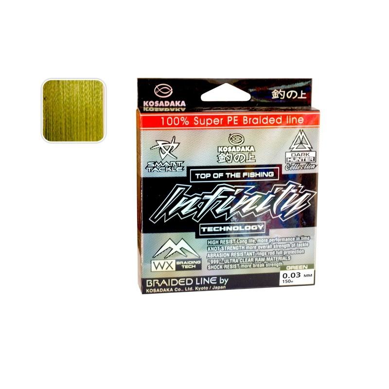 Плетеная леска KOSADAKA Infinity green - 0.03