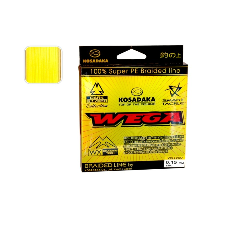 Плетеная леска KOSADAKA Wega yellow - 0.15