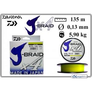 Плетеная леска DAIWA «J-BRAID» x4 yellow - 0.13