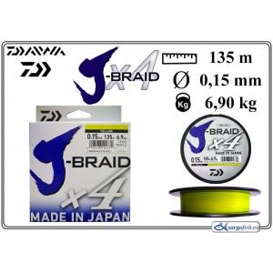 Плетеная леска DAIWA «J-BRAID» x4 yellow - 0.15
