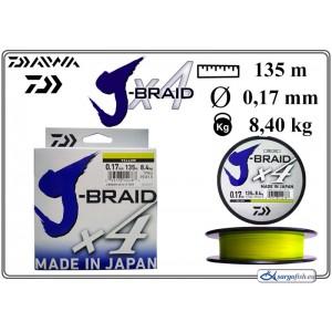 Плетеная леска DAIWA «J-BRAID» x4 yellow - 0.17