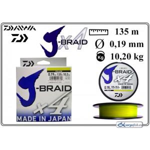 Плетеная леска DAIWA J-BRAID x4 yellow - 0.19