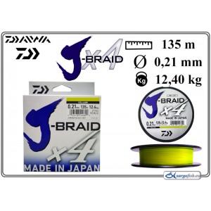 Плетеная леска DAIWA J-BRAID x4 yellow - 0.21