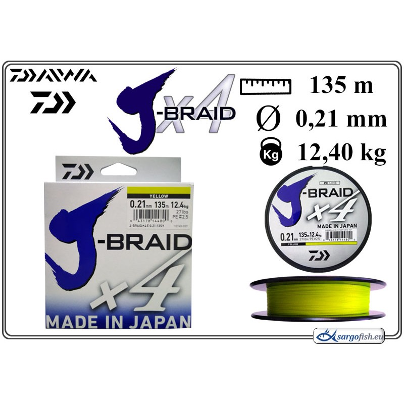 Плетеная леска DAIWA J-BRAID x4 yellow - 0.21
