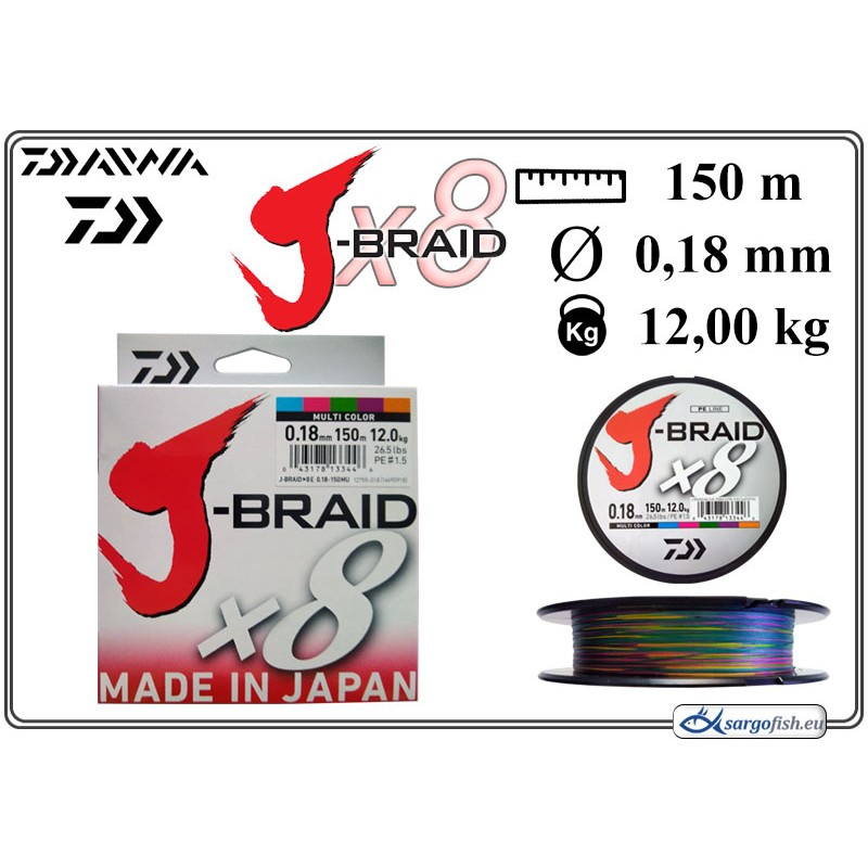 Плетеная леска DAIWA J-BRAID x8 multicolor - 0.18