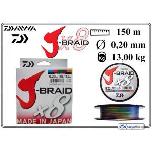 Плетеная леска DAIWA J-BRAID x8 multicolor - 0.20