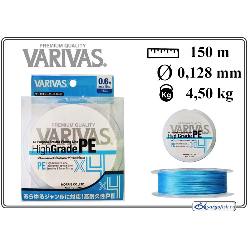 Плетеная леска VARIVAS High GRADE x4 PE blue - 0.6
