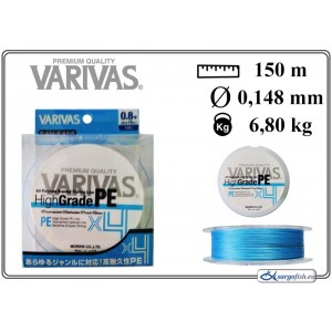 Плетеная леска VARIVAS High GRADE x4 PE blue - 0.8