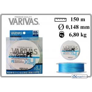 Плетеная леска VARIVAS High GRADE x4 PE blue - 0.8