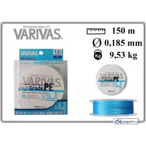 Плетеная леска VARIVAS High GRADE x4 PE blue - 1.2