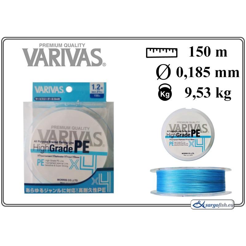 Плетеная леска VARIVAS High GRADE x4 PE blue - 1.2
