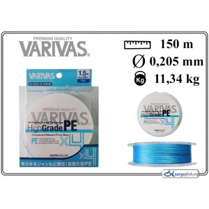 Плетеная леска VARIVAS High GRADE x4 PE blue - 1.5