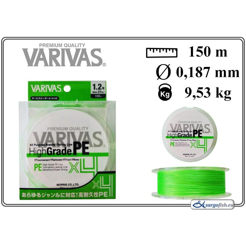 Плетеная леска VARIVAS High GRADE x4 PE green - 1.2